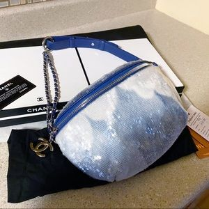 Auth. Chanel Limited Ed. Sequin Waterfall Bum Bag